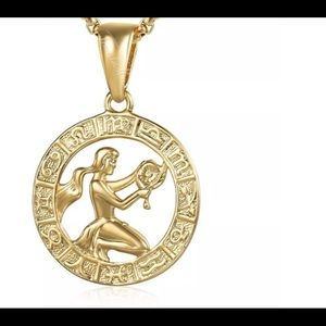 "Virgo Zodiac Sign Gold Filled 20"" Long Necklace"
